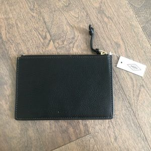LEATHER Fossil Small Zip Pouch / Clutch